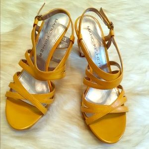 NWT Marc Fisher yellow open toe strap heel sandals